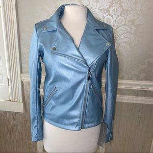 Bagarelle small blue faux leather moto jacket NWT